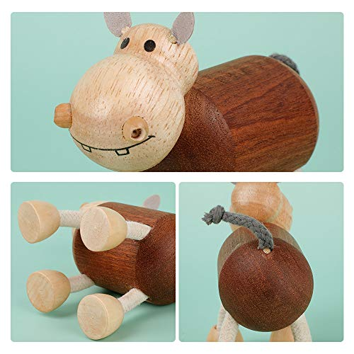 BumbleBee Wooden Toys for Babies, Wood Baby Teething Toys for Toddlers, Grasping Wooden Baby Teething Toys, Newborn Toys Gift Unisex Babies, Hippo