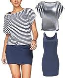 Yinggeli Women's 2 Pieces Casual Loose T Shirt Tops Print Bodycon Mini Tank Dresses (Large, Blue-Stripes)