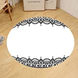 Gzhihine Custom round floor mat Arabesque Middle Eastern Islamic Ornamental Geometrical Shapes Moroccan Artful Image Bedroom Living Room Dorm Yellow Black