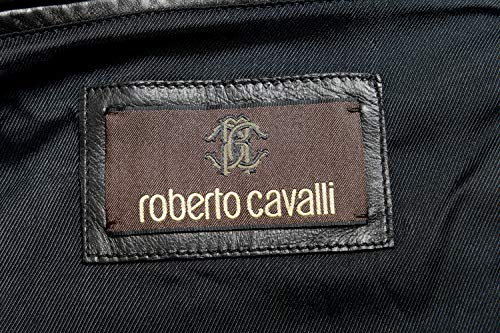 ROBERTO CAVALLI Men's 100% Leather Black Full Zip Biker Jacket Sz US S IT 48