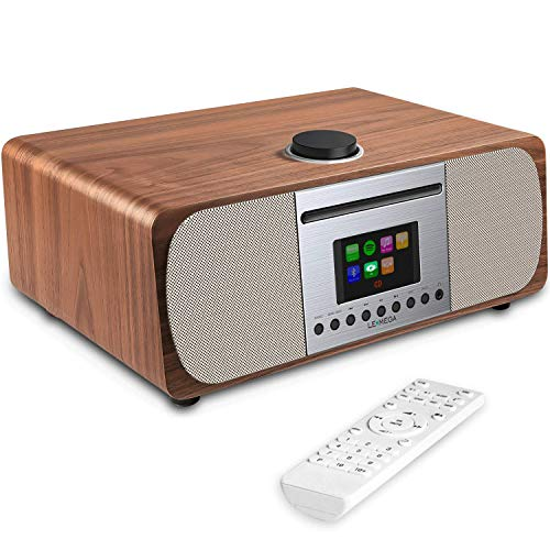 LEMEGA M5+ All-in-One Smart Music System (2.1 Stereo) with CD, Wi-Fi, Internet Radio, Spotify, Bluetooth, DLNA, FM Radio, Clock, Alarms, Presets, and Wireless App Control (Walnut)