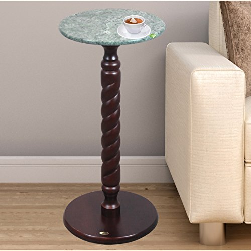 Uniquewise(TM) Solid Wood Round Table, Side Table with Green Marble Top (Top Round Marble)