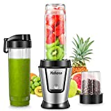 Personal Blender, Portable Smoothie Blender with 2 x 20oz Travel Bottle, 500W Single Serve Blender with Grinder Cup for Shakes and Smoothies, BPA free, by Yabano