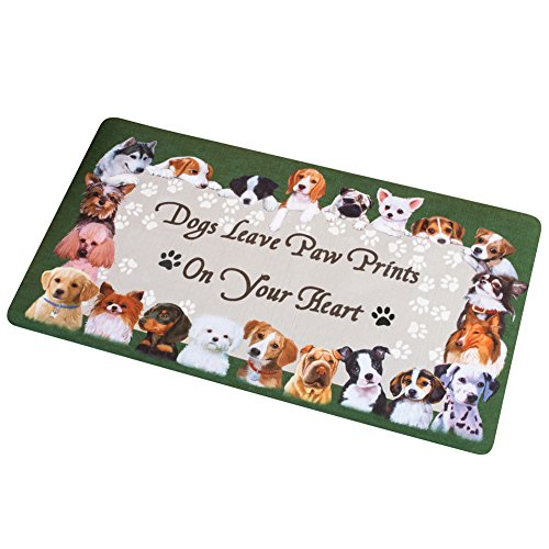 Collections Etc Dog Paw Prints On Your Heart Skid-Resistant - Accents Hooked Rug Collection