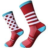 Calcetines, para exteriores, ciclismo, pies izquierdo y derecho, de rayas puntiagudos,