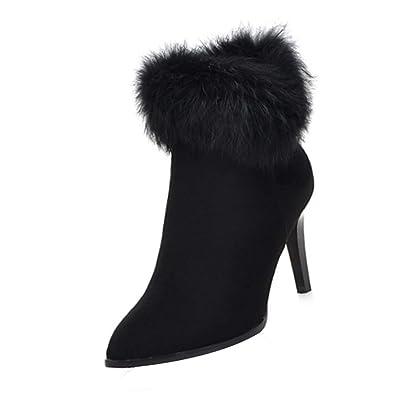 fffbfc81b20c Uirend Women Fur Ankle Boots - Winter Warm Snow Boots Ladies Side Zipper  High Heel Shoes