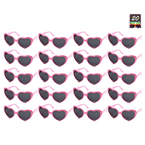 10 Packs Neon Colors Wholesale Heart Sunglasses (20 Packs Pink) ()