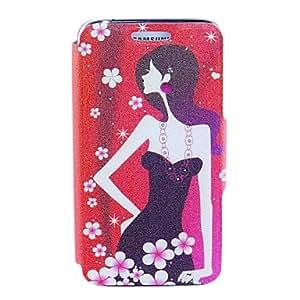 SOL Kinston Plum Flower Girl Pattern PU Leather Full Body Case for Samsung S5 I9600