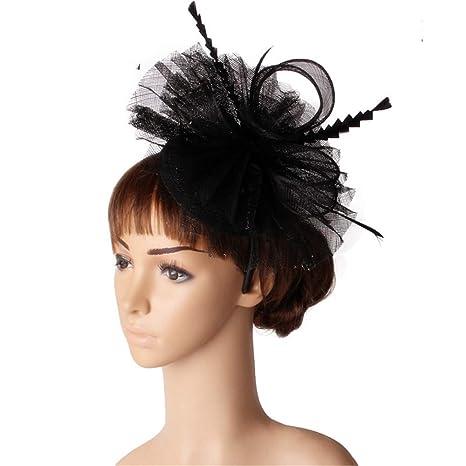 Fascinators Hat Feather Headwear Fascinator Elegante Cappello di Piume di  Fiori da Sposa Capelli Copricapo Accessaries 2e3f78e93eb4