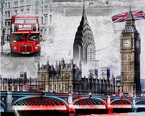 Werewtr Diamond Drawing 5D DIY Diamond Painting Cross Stitch Full Square Diamond Embroidery Full Round Diamond Mosaic London Bridge & Bus,60Cmx70Cm -