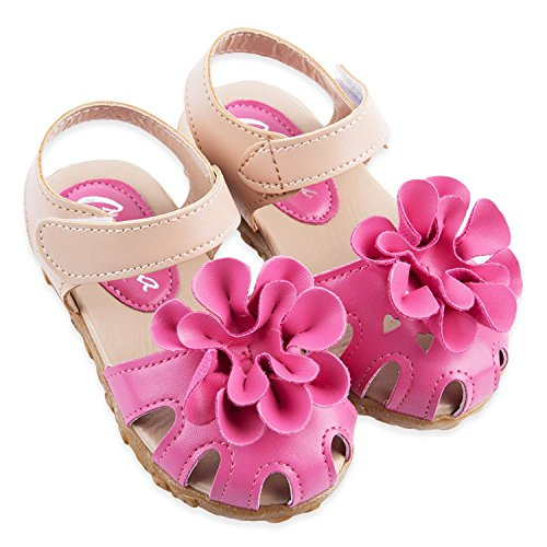 Girls Shoes Cool Pu Leather Kids Summer Baby Girls Sandals Shoes Toddlers Children Kids Flower Shoes Size 21-30 Rose 13.5 ()