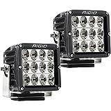 Rigid Industries 322613 D-XL Pro Driving Light; Surface Mount; Specter; Black Square Housing; 12 White LEDs; Set Of 2;