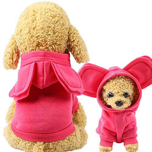 Xiaoyu Pet Dog Hooded Clothes Apparel Puppy Cat Warm Hoodies Coat Sweater for Small Dogs with Cute Hat,