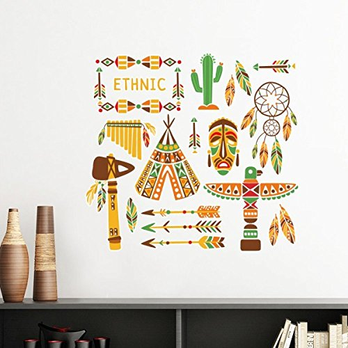 Native American Wallpaper - Totem Worship Native American Indian Dream Catcher Removable Wall Sticker Art Decals Mural DIY Wallpaper for Room Decal