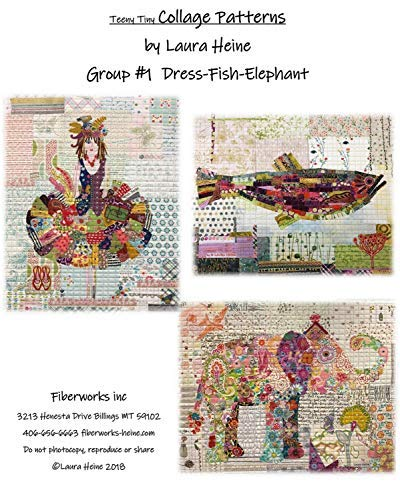 Teeny Tiny Quilt Collage Patterns - Group 1 by Laura Heine (Fish Quilt Pattern)