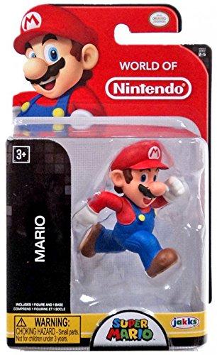Jakks Pacific Year 2016 World of Nintendo Super Mario Series 2-1/2 Inch Tall Figure - Running MARIO with Display Stand from Nintendo