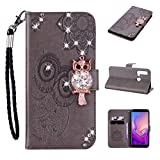 Amocase Wallet Case with 2 in 1 Stylus for Huawei P20 Lite 2019,3D Bling Gems Owl Magnetic Mandala Embossing Premium Strap PU Leather Card Slot Stand Case for Huawei P20 Lite 2019 - Gray