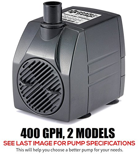 PonicsPump Submersible Pump with for Hydroponics, Aquaponics, Fountains, Ponds, Statuary, Aquariums & more. Comes with 1 year limited warranty. (400 GPH : 6' Cord) ()