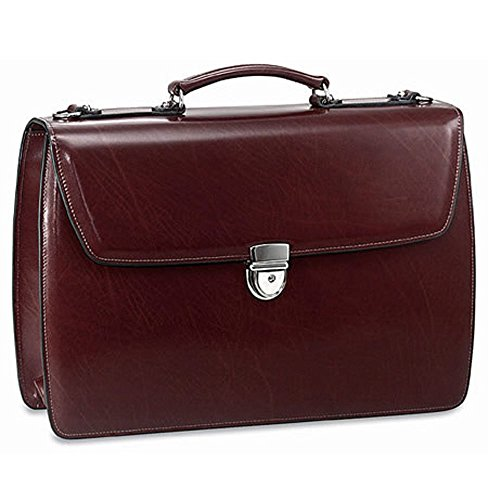 Jack Georges Triple Gusset Flap Over Leather Briefcase 4403 (Leather Triple Gusset Flap)