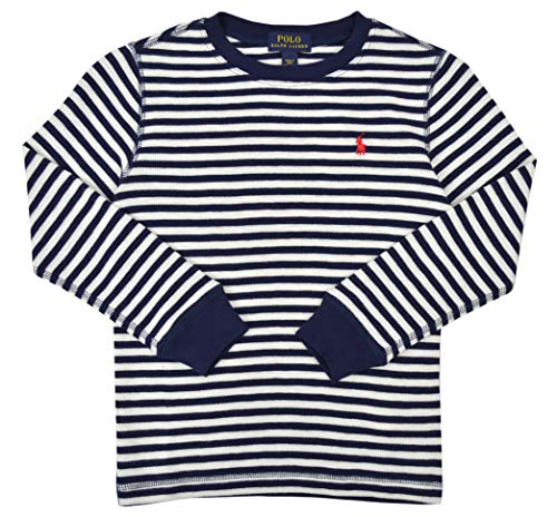 (Polo Ralph Lauren Toddlers Boys Kids Thermal Knit Long Sleeve Shirt White Blue Striped (3/3T))