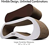 2 in 1 Colossal Large Cat Scratcher Lounge by Friends Forever Cardboard Lounge Jumbo Scratch Post Angled (Walnut Brown)