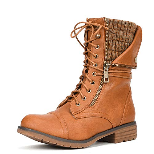 DREAM PAIRS Women's Trek Camel Flat Heel Ankle Bootie Size 11 B(M) US Camel Womens Flat Boots