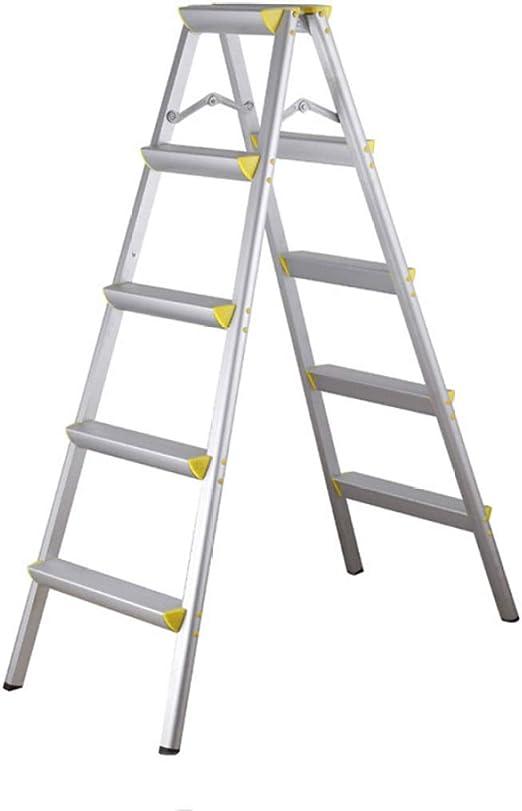 JLDN Escalerilla, 5 Peldaños Escalera Plegable de Aluminio con Apoyabrazos Resistente y Ancha Antideslizantes de Peso Ligero de Tipo A Domésticos de Cocina de Pasos,Yellow: Amazon.es: Hogar