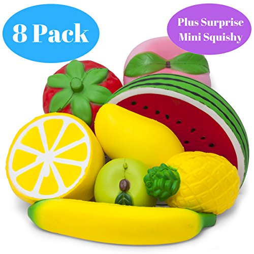 Jumbo Fruit Squishies Slow Rising - Set of 8 - Fruit Squishy Pack - Lemon, Pineapple, Peach, Strawberry, Banana, Watermelon, Mango, Apple - Cute Kawaii, Valentines Gift, Party Favors, Play (Peach Pack)