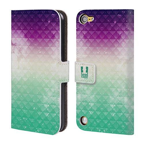 Head Case Printed Purple Sky Over Green Mist Studded Ombre Cover telefono a portafoglio in pelle per Apple iPod Touch 5G 5th Gen / 6G 6th Gen