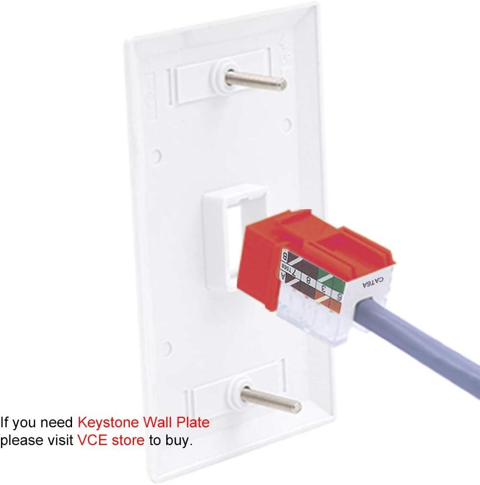 Ethernet UTP Cat6A Keystone Jacks UL Listed Yellow VCE 25-Pack Cat6A RJ45 90-Degree Keystone Jack Insert