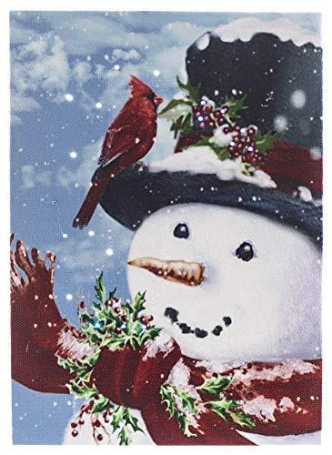 Oak Street Snowman with Cardinal LED Art 8