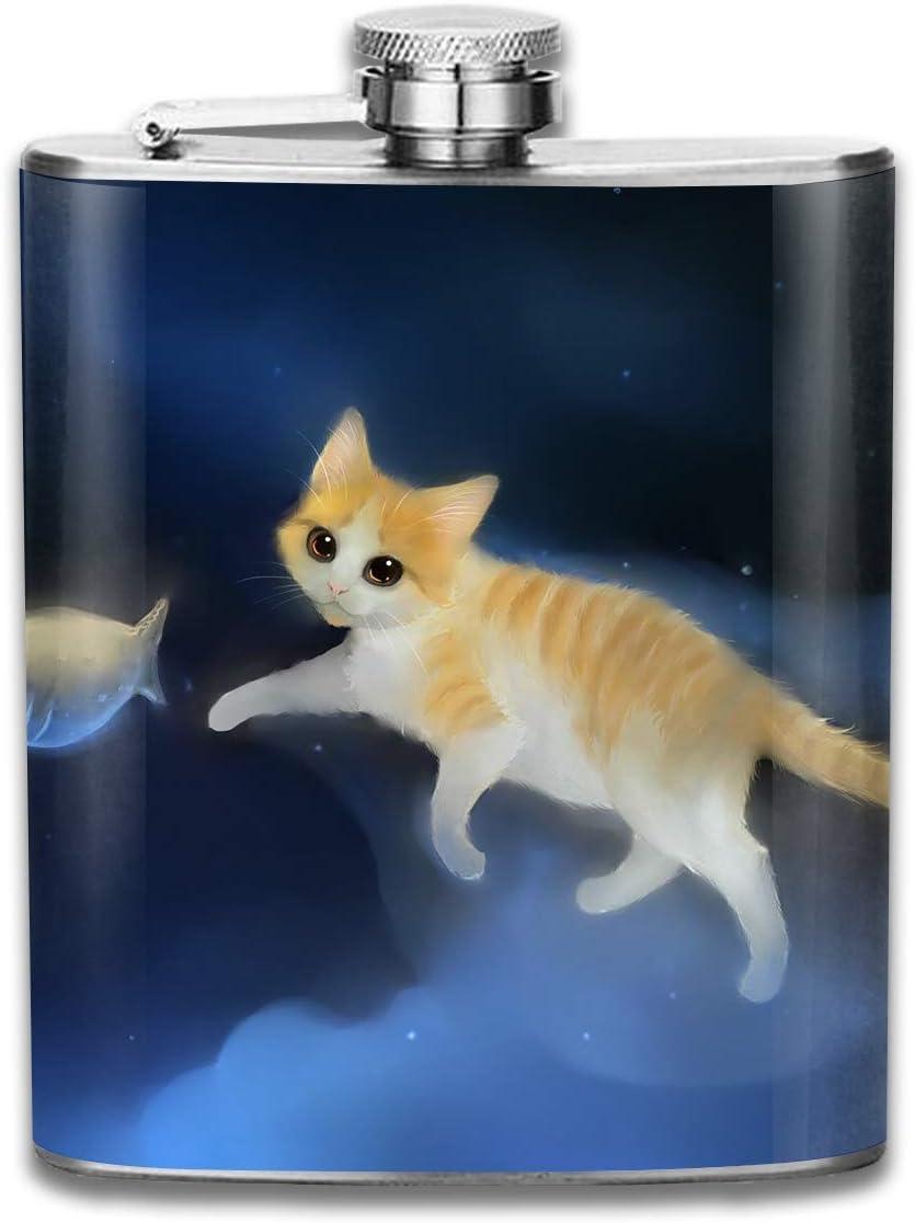 Frasco de la cadera del agua del vino de los pescados de la captura del gato para el alcohol del alcohol 7oz de la botella del acero inoxidable: Amazon.es: Hogar