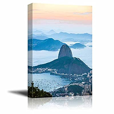 Beautiful Scenery Landscape of Rio De Janeiro View from Corcovado to Sugarloaf Mountain - Canvas Art Wall Art - 16