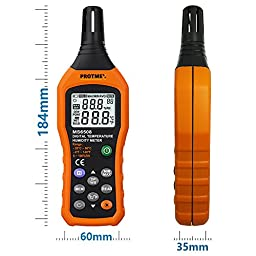 Protmex MS6508 LCD Digital Psychrometer Mini Temperature and Humidity Gauge Meter with Dew Point and Wet Bulb Temperature Hygrometer