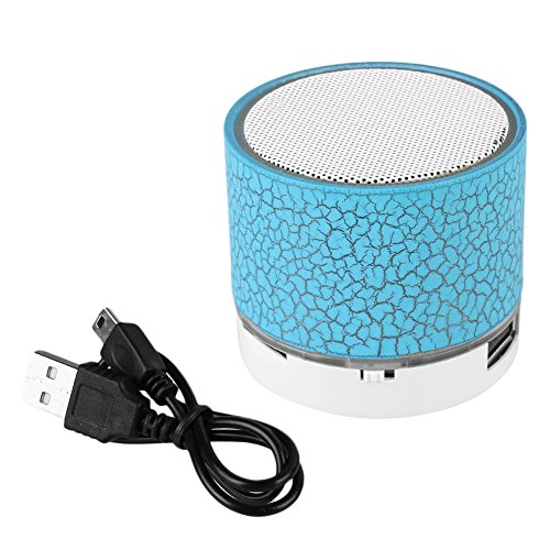 Cewaal Altavoz portátil LED luminoso Música Bluetooth manos libres de grietas Mini Caja de resonancia Música para Smartphone Grieta Altavoz Bluetooth Subwoofer blue