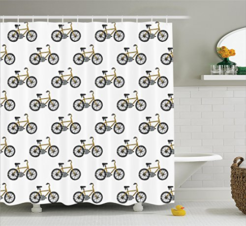 Bicycle Decor Shower Curtain Set by Ambesonne, Hand Drawn Doodle Cycling Theme Pattern of Yellow Bike Leisure Hobby Street Art Print, Bathroom Accessories, 75 Inches Long, Mustard (Bike Print)
