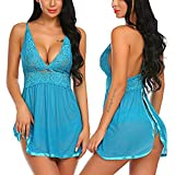 Uscharm Women Babydoll Lingerie Sheer Lace Plunging Teddy Mesh Chemise V Neck Halter Backless Sleepwear Outfits