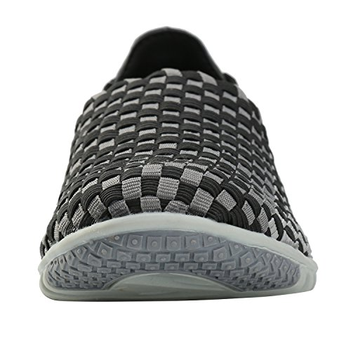 Casual Black Leroy Elastic Pattern Checkered Alexis Womens Shoes Breathable Woven n70xCCHwWq