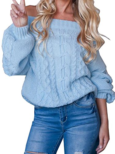 Women's Off Shoulder Puff Sleeve Loose Sweater Pullover Blue ()