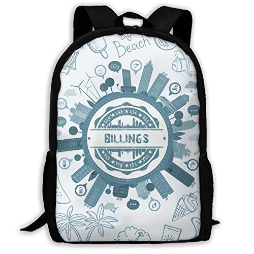 X-JUSEN Unisex Adult Billings Montana Travel Laptop Backpack, School & Business Rucksack, Both Shoulders Water Resistant Bag Bookbag -