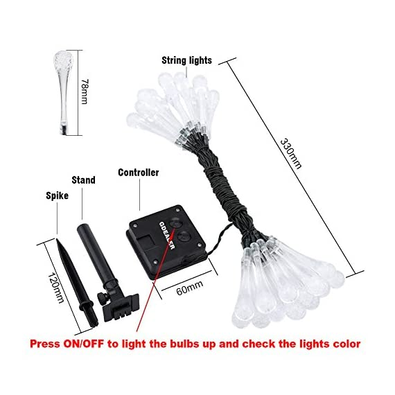 GDEALER Solar Outdoor String Lights 20ft 30 LED Water Drop Solar String Fairy Waterproof Lights Christmas Lights Solar Powered String lights for Garden, Patio, Yard, Home, Christmas Tree, Parties - This 20ft 6m long LED solar string provides fairy lighting effect. The whole light is waterproof, suitable for outdoor use, no worry for rain drops. 8 hours working time after fully solar-charged, enjoy the lighting for whole night. Romantic lighting effects illuminates during night, ideal for decorating your gardens, patio, lawn, porch, gate, yard, etc. - patio, outdoor-lights, outdoor-decor - 51vXHbyY5 L. SS570  -