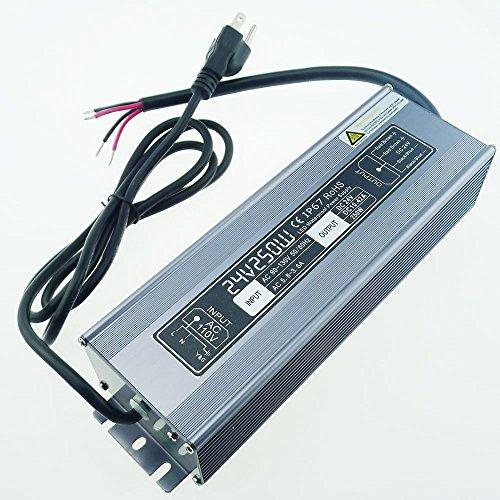 LEDENET 250 Watt Waterproof LED Power Suppply Driver Transformer Ac 90-130 Volt to 24 Volt DC Output