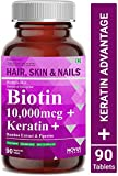 Carbamide Forte Biotin 10,000mcg with Keratin, Bamboo Extract & Piperine for Enhanced Absorption | Supplement for Fast Hair Growth & Treatment – 90 Veg Tablets