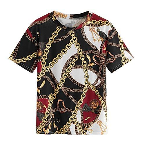 ALIKEEY Camiseta De Mujer Camiseta De Cadena Blusa Camiseta De Manga Corta Camiseta Superior Top Halter Estampado (Negro, S): Amazon.es: Ropa y accesorios
