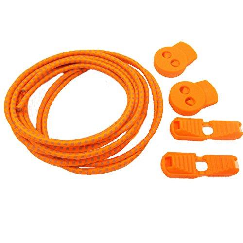 aiyuda 2pares de la corredora reflectante elástica no Tie cordones sistema de cierre elástico encaje Lock para correr senderismo Naranja naranja Talla:talla única Naranja - naranja