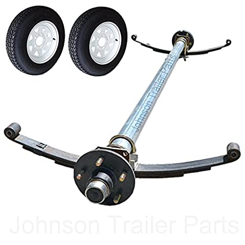 3,500 lb Trailer Idler Axle with Double Eye Springs, U-Bolts, Wheels & Tires - 95