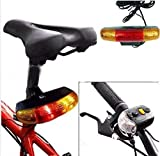 Lighter House 3 In 1 Cycling Bicycle Bike Turn Signal Brake Tail 7 LED Light Electric Horn (Black)