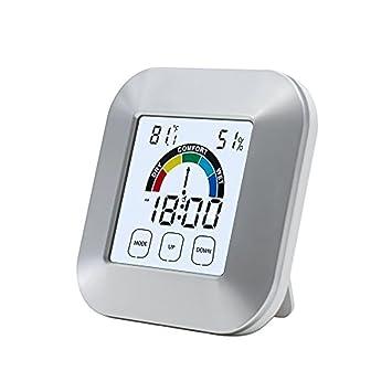 Termómetro higrómetro digital LCD, minimonitor de tiempo, reloj inalámbrico multifunción con indicador de comodidad