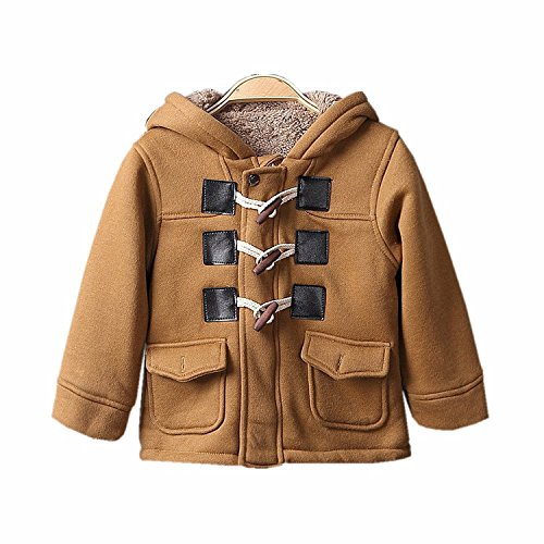 Coat Jacket Duffle - Baby Boys Cotton Fleece Hooded Jacket Outerwear Duffle Coat (6-12 Months, Brown)