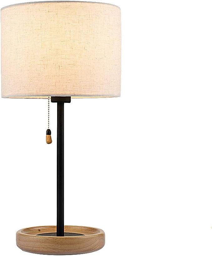 E27 Tischleuchte Nachttischlampe mit Stoffschirm Schreibtischlampe für Hotel